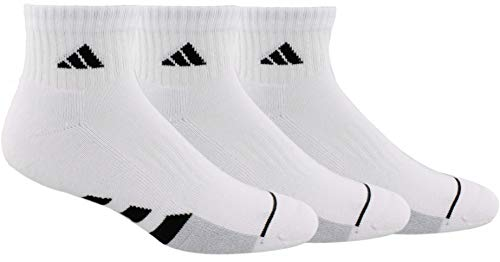 adidas Men's Cushioned Quarter Socks (3-Pair), White/Black/White - Clear Onix Marl, Large, (Shoe Size 6-12)