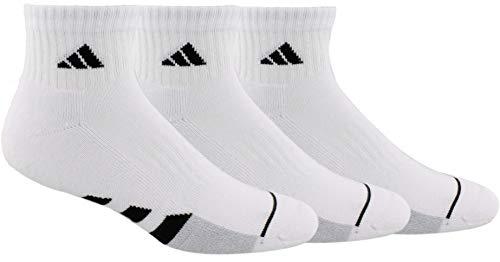 adidas Men's Cushioned Quarter Socks (3-Pair), White/Black/White - Clear Onix Marl, Large, (Shoe Size 6-12)