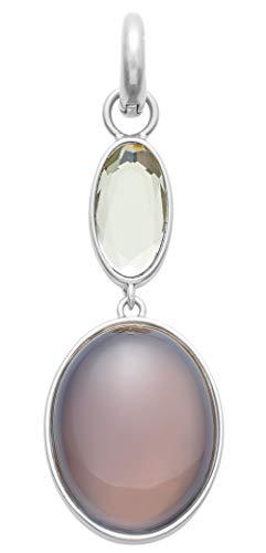 SENCE Copenhagen CK744 - Colgante de Plata para Mujer, 2 Piedras, Cristal de ágata Gris, Plateado Mate