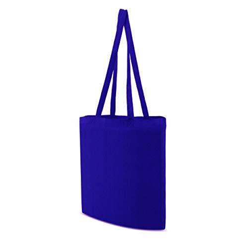 My Custom Style Einkaufstasche, Baumwolle, 140 g/m², Elektroblau, 38 x 42 cm, Griffe 70 cm