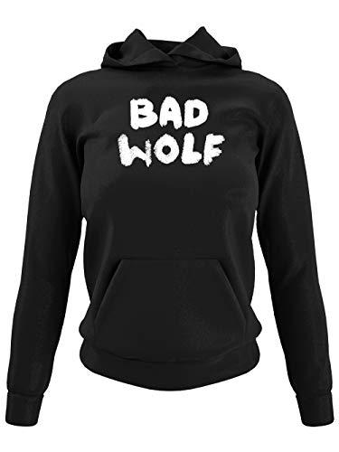 clothinx Bad Wolf   Serien und Zeitreise Text-Design Für Rose   Perfekt Für jeden Begleiter und alle Fans des Doktors Damen Kapuzen-Pullover Schwarz Gr. M