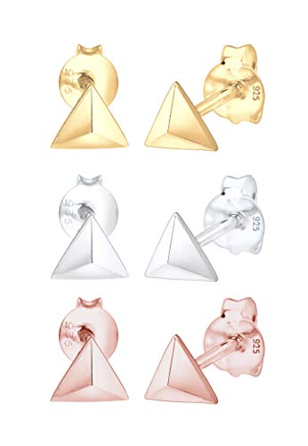 Elli Pendientes Mujer Fijan el Motivo del Triángulo de Tendencia Tricolor en Plata Esterlina 925
