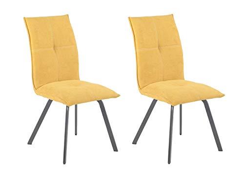 Meubletmoi Aria stoelen, stof, geel en metalen poten, zeer comfortabel, modern design, 2 stuks