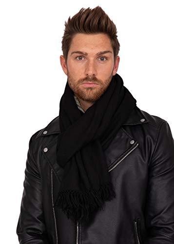 Grande écharpe Homme Tissée à la Main 100% Mérinos Sergée, Oversize Classic Luxueux Sentir Grande Echarpe d'hiver, Echarpe Chaude pour les Hommes
