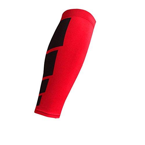 Luwu-Store Neopren-Klammer-Kalb-Shin-Stützverpackungs-Shin Sleeve Lauf Bandage Schutz Bein 1pcs-Rot M