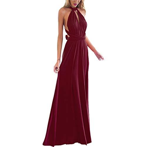 OBEEII Abito Donna Lungo Elegante Senza Maniche Sexy Multi Way Bandage Dress Vestito da Cerimonia Matrimonio Sposa Damigella d'Onore Sera Cocktail Prom Vino Rosso S