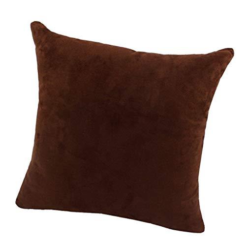 MagiDeal Couvre-oreillers Décoratifs - Couvre-oreillers en Daim de Couleur Unie en Velours Doux pour La Décoration de Salon-Multicolore, 18 X 18 Pouces / 24x24 - Chocolat-60x60cm