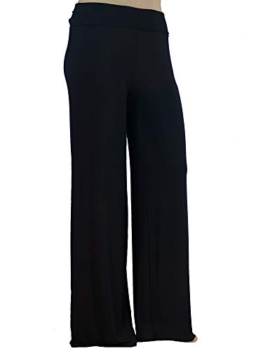 Stylzoo Women's Premium Modal Softest Ever Palazzo Solid Stretch Pants Black Regular 2X