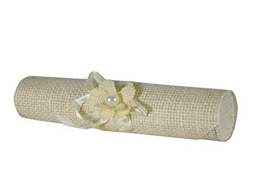takestop® Set van 6 snoepjes bonnière pergola jute wit bloemen uitnodigingshouder confetti verjaardag feest geboorte