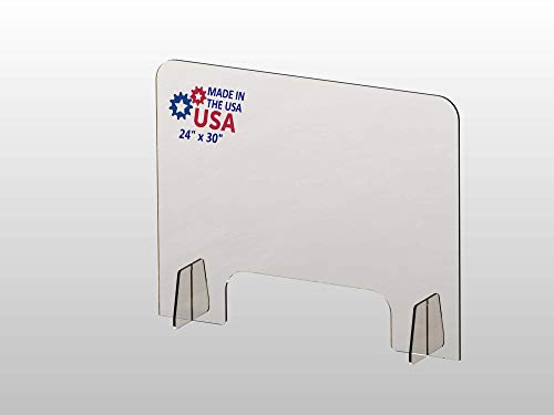 Protective Sneeze Guard for Countertop and Desk, Portable Acrylic Transparent PPE Safety, 30' W x 24' H and 1/4' Thickness Acrylic Panel (Two Stands) Plexiglass Barrier Pass-Through Transaction Window