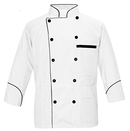 Leorenzo Designed PN-71 Men's Chef Coat Black Piping Exclusive Chef Jacket (Size=XXL, White Coat)