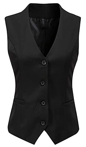 Vocni Women's Fully Lined 4 Button V-Neck Economy Dressy Suit Vest Waistcoat ,Black,US M ,(Asian 3XL)