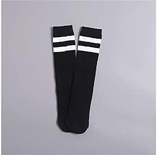 Lovely Socks Children Cotton Socks Kids Cotton Summer Vertical Stripe Mid Tube Socks (Turmeric) Newborn Sock (Color : Black)