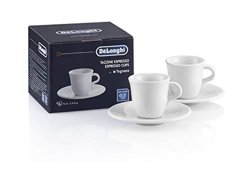 De'Longhi Espressotassen Set aus Porzellan DLSC308 – 2 handgemachte Keramik Tassen mit Untertassen, mikrowellen- & spülmaschinengeeignet, 70 ml, Weiß