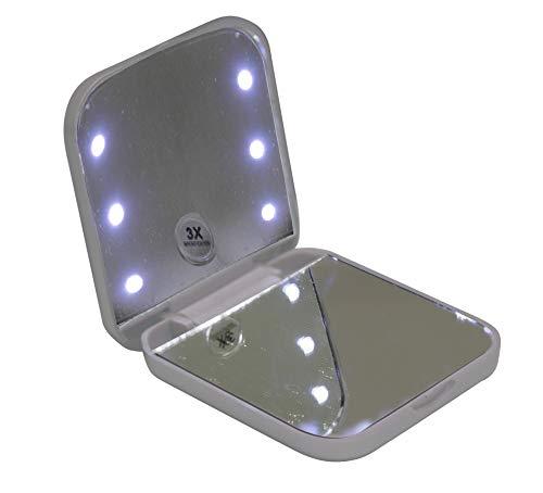 Espelho compacto e portátil Vivitar com iluminação por LED e Ampliação 3x – Branco, VIVITAR, Branco