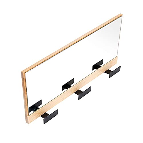 Väggmonterad rockkrok, väggmonterad spegeldörr veranda hängare hängare fyrkantig spegel på kläder väggkrok vägg spegel klädhängare förvaringsmaterial bambu + säker retro vattenbaserad färg/A
