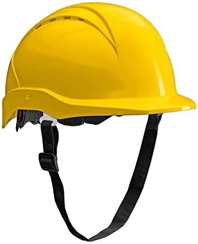ACE Patera Casco Sicurezza Lavoro - Elmetto da Lavoro - Protezione Testa - con chiusura a vite, ventilato e regolabile - Giallo