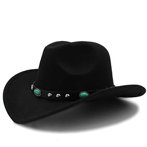 LQ-BNM Panamahut - Neuer Cowboyhut, Partyhut Der Jazzmode-Frauen, Cowgirl Rollen Oben Dekorativen Hut 56-58CM (Farbe : Schwarz, Größe : 57-58 cm)