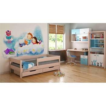 Children's Beds Home Camas Individuales para niños niños pequeños 140x70 / 160x80 / 180x80 / 180x90 / 200x90 NO CAJONES SIN COLCHÓN Incluido (140x70, Blanco)