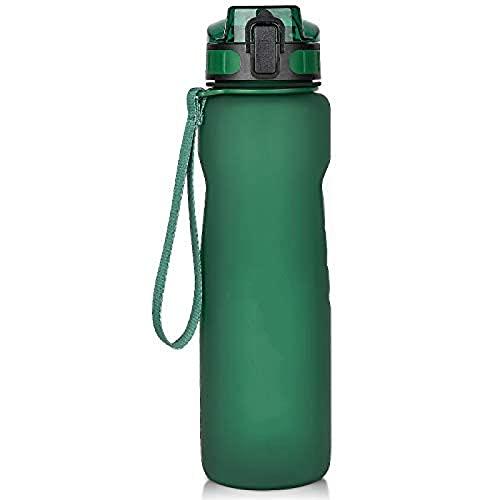 Botella de Agua Deportiva, BPA Libre tritán no tóxico plástico Sport Taza de Agua, Botella de Agua Resistente a Las Fugas con Filtro, Flip Top (Gris -1000ML) Atrovirens-1000ml