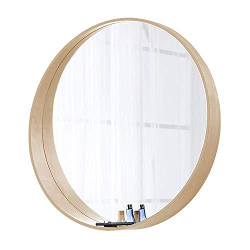 Mnjin Schminkspiegel – Eichenrahmen, 4 mm Hd Silber Spiegel, Wandspiegel Wandspiegel Kommode Schlafzimmer HD Schminkspiegel 50 cm 60 cm 70 cm, Wood Color, 60 cm