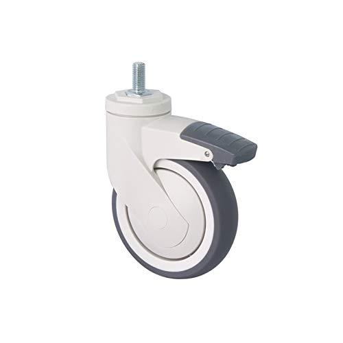 AnSafe Ruedas Giratorias, Moviente Castor Rueda Fuerte Ruido Bajo Fuerte Tarea Pesada Mueble Carritos De Compra Multifunción Reemplazo Ruedas (Color : Brake Wheel-5 in)