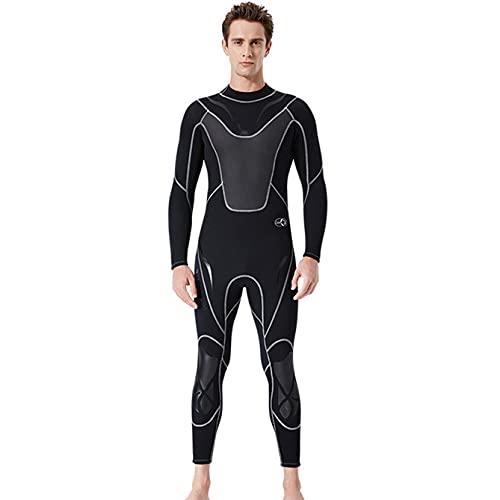 POOPFIY Hombres de Cuerpo Completo 3mm Neopreno Traje de Neopreno Surfing Nadando Traje triatlón triatlón,Negro,L