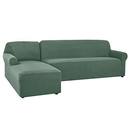 CHUN YI Funda de sofá en Forma de L, Elástica Funda para Sofa en Forma de L, Chaise Longue Protector de Muebles (Chaise Izquierda, Verde Oliva)