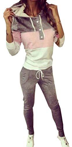 Donna Tute da Ginnastica 2 Pezzi Sportivo Tuta Donne Jogging Pantaloni Felpa Striscia Pullover con Cappuccio Fitness Casual Yoga Corsa Training Tuta Femminili Casa attività Loungewear Grigio L