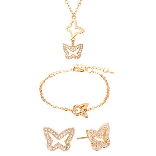 Generic Mariposas de Diamantes de Imitación Collar Pulsera Pendientes Conjunto Colgante Gargantilla Pendientes Pulsera Joyería para Mujer Niña Boda Madres Día Regalo Dorado