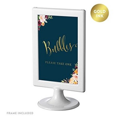Andaz Press Framed Wedding Party Signs, Navy Blue Burgundy Florals with Metallic Gold Ink, 4x6-inch, Please Take A Tissue for Your Tears of Joy, Laughter Happily Ever After, Double-Sided, 1-Pack