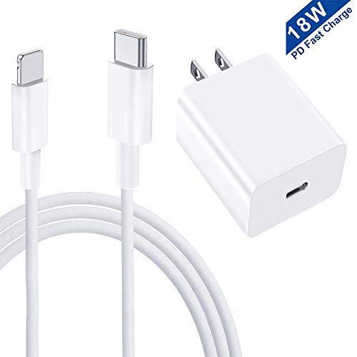 18W USB C iPhone Fast Charger Power Delivery Wall Charger Plug with to Lightning Cable [MFi Certified] Type C Charger for iPhone SE 2020 11 Xs Max XR X 8 Plus iPad Pro and More