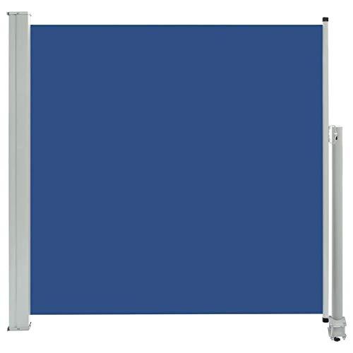 Ksodgun Marquesina Lateral retráctil de Material de Fibra de poliéster, marquesina Lateral para jardín, marquesina Lateral con Estructura de Acero 160 x 0-300 cm-Azul con Revestimiento de PU