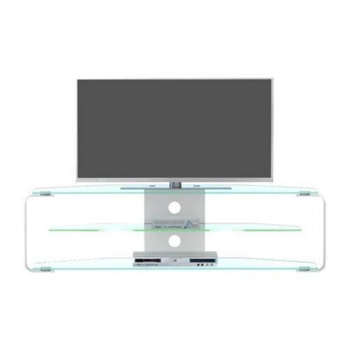 Jahnke TV Rack aluminium helder glas/aluminium geslepen 144 x 40 x 40 cm