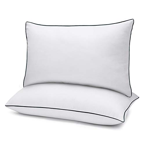 Bed Pillows for Sleeping 2 Pack Queen Size(20' x 30') White, Gel Pillow with Soft Premium Plush Fiber Fill Skin-Friendly