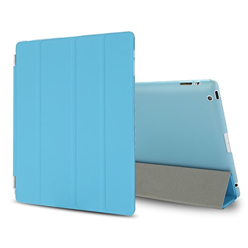 Besdata Magnetic Smart Cover with Translucent Back Case for Apple iPad 2 / iPad 3 / iPad 4 (iPad with Retina Display) Bundle with Screen Protector, Cleaning Cloth & Stylus (Sky Blue)