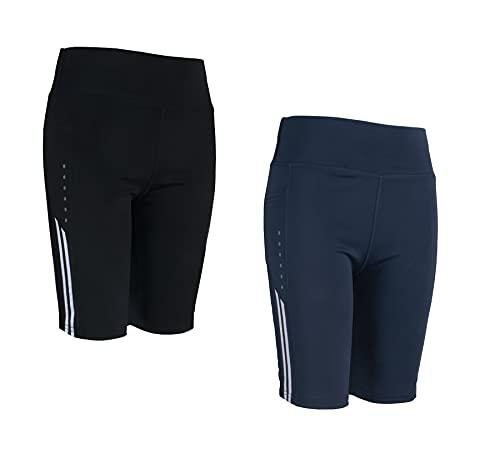 POWER FLOWER Abbigliamento Sportivo da Donna Set 2 Pezzi Palestra Sport Mezze Pantaloncini Leggings da Corsa Elasticizzati Mezza Pantalone Yoga Design Italiano (9704, L-XL, l)