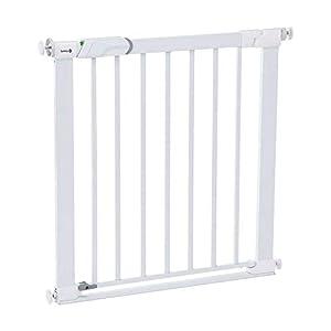 Safety 1st Easy Close Metal Barrera de seguridad metalica para puertas y escaleras, Puerta de seguridad 80 cm hasta 136 cm con extensiones, barrera escalera bebé, niños y perros, Blanco