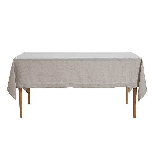 DAPU reines Leinen Tischtuch 100% Französisch Flachs Fleck Resistent Rechteck Tischdecken Leinen140cm x 220cm Naturleinen