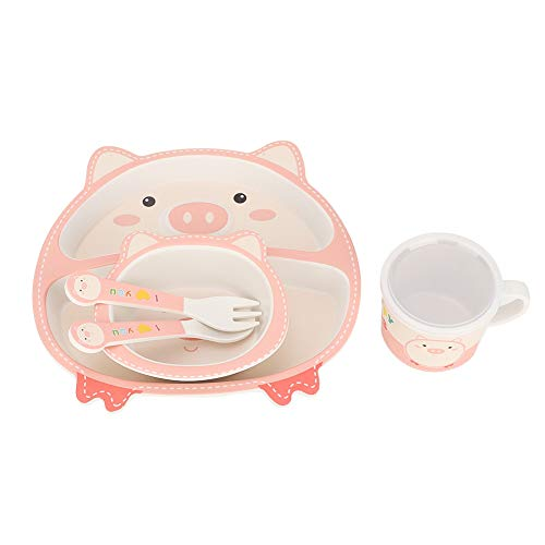 5 piezas/juego de vajilla para niños, regalo de cumpleaños, juego de alimentación reutilizable para la hora de comer, niñas y niños para bebés Todders(Love pig)