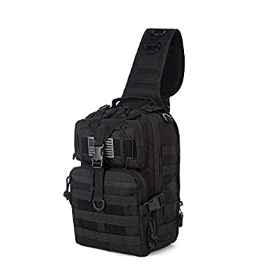 J.CARP Tactical EDC Sling Bag Pack, Military Rover Shoulder Molle Backpack, with USA Flag Patch, Black