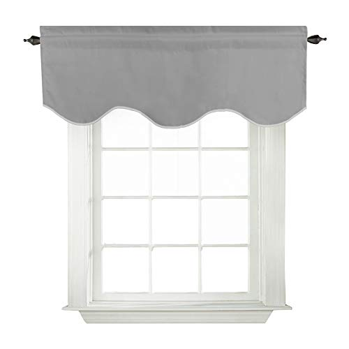 Turquoize Blackout Scalloped Valance Curtains, Short Tier Valances for Small Window Treatment Curtains, Dove Gray, 52-inch by 18-inch, 1 Panel