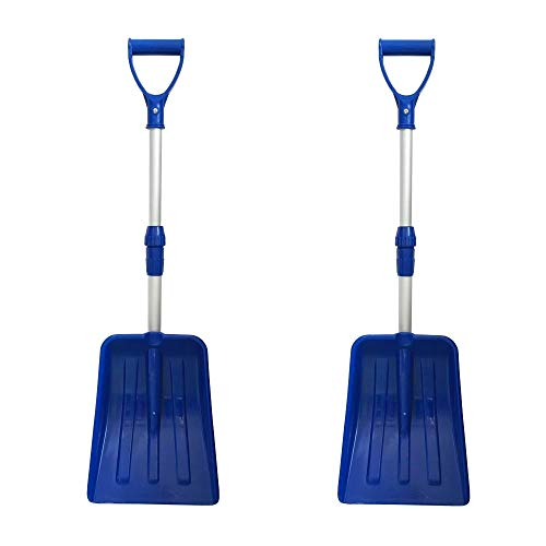 MTB Portable Snow Shovel for Car Pack of 2 Sets Blue with Extendable Aluminum Handle