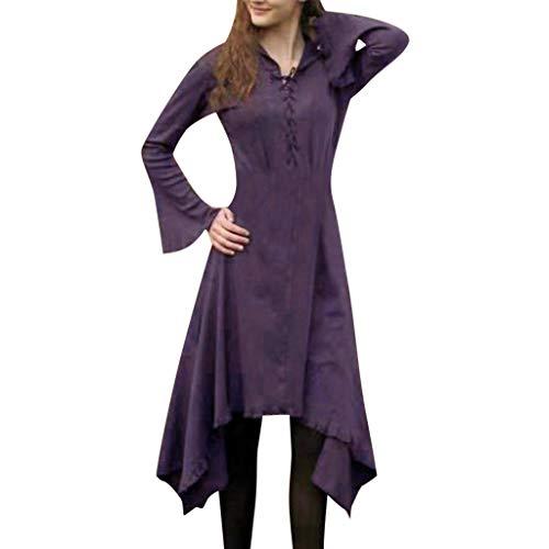 Sloater Gothic Punk Rave Kleid, Kleid Langarm Damen Elegant Flare Hülse Schnürkleid Vintage V-Ausschnitt Unregelmässig Kleid Festlich Cocktail Abendkleid
