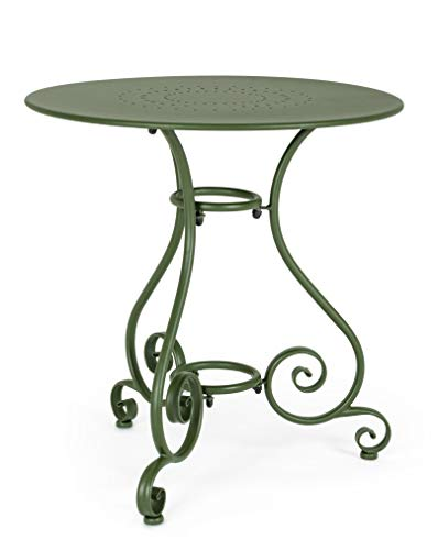Bizzotto Tavolo da Giardino in Metallo Rotondo, Struttura in Acciaio per Esterno, Etienne (Ø 70, Verde)