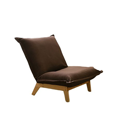 G-Y Canapé Paresseux, Créative En Bois Massif Chambre Simple Petit Appartement Canapé, Salon Chaise Longue Dos Chaise Paresseux (lin) (Couleur : Marron)