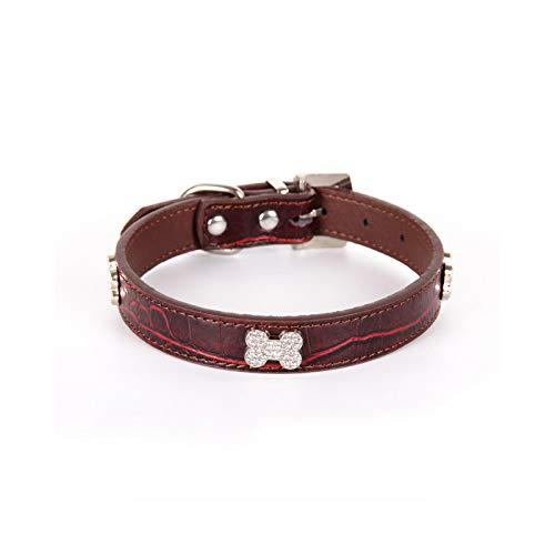 Collar de perro hueso con brillantes de lujo para perro pequeño con correa para gato, collar de lujo