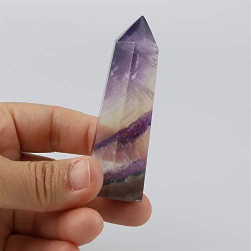 ACEACE Natürliche Bunte Fluorit Wand Gestreifte Hexagon Kristalle Obelisk Raw Quarz Punkte Säule Fels Mineral Specimen Edelsteine (Size : 7 8cm)