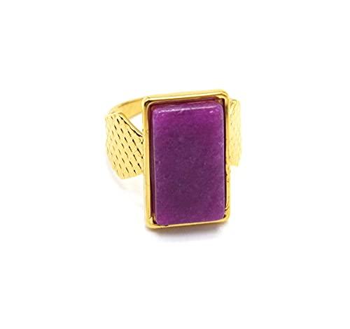 Oh My Shop BG1472 - Anillo ancho acolchado de acero dorado con piedra rectangular malva