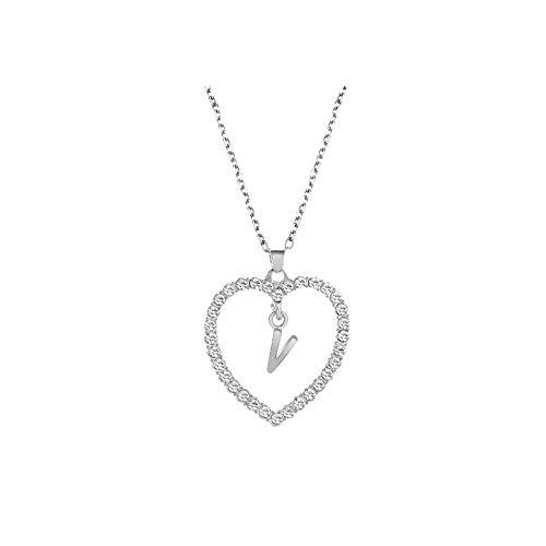 Mujeres Collares y Colgantes, Colgante Collar para Mujeres Alfabeto Joyería Amante Corazón Collar Regalos Joyería Y Relojes para Navidad Día de San Valentín (V)
